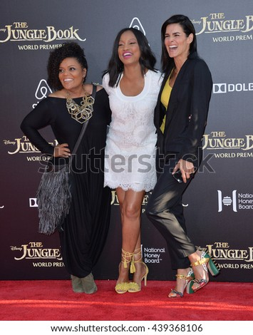 "LOS ANGELES, CA. April 4, 2016. Actresses Yvette Nicole Brown, Garcelle Beauvais & Angie Harmon at the world premiere of ""The Jungle Book"" at the El Capitan Theatre, Hollywood."