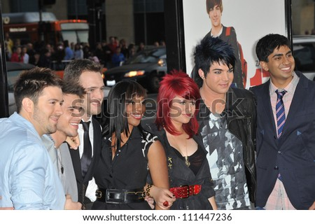 "LOS ANGELES, CA - APRIL 14, 2009: American Idol stars Danny Gokey, Kris Allen, Matt Giraud, Lil Rounds, Allison Iraheta, Adam Lambert & Anoop Desai  at the premiere of ""17 Again"" at Chinese Theatre. - stock photo"