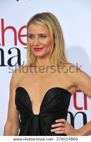 """LOS ANGELES, CA - APRIL 21, 2014: Cameron Diaz at the Los Angeles premiere of her movie """"The Other Woman"""" at the Regency Village Theatre, Westwood. - stock photo"""