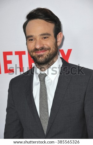 "LOS ANGELES, CA - APRIL 2, 2015: Charlie Cox at the premiere of his Netflix series ""Marvel's Daredevil"" at the Regal Cinemas LA Live."