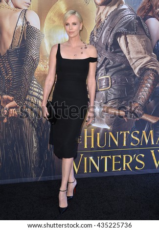 """LOS ANGELES, CA. April 11, 2016: Charlize Theron at the US premiere of """"The Huntsman: Winter's War"""" at the Regency Village Theatre, Westwood. - stock photo"""
