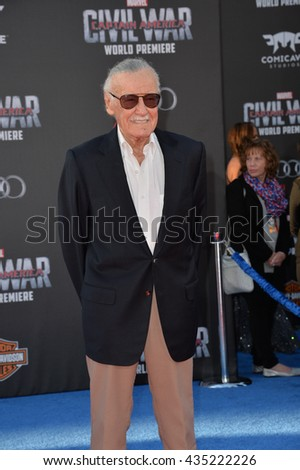 "LOS ANGELES, CA. April 12, 2016: Comic book legend Stan Lee at the world premiere of ""Captain America: Civil War"" at the Dolby Theatre, Hollywood."