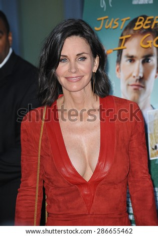 """LOS ANGELES, CA - APRIL 20, 2015: Courteney Cox at the premiere of her movie """"Just Before I Go"""" at the Arclight Theatre, Hollywood.  - stock photo"""