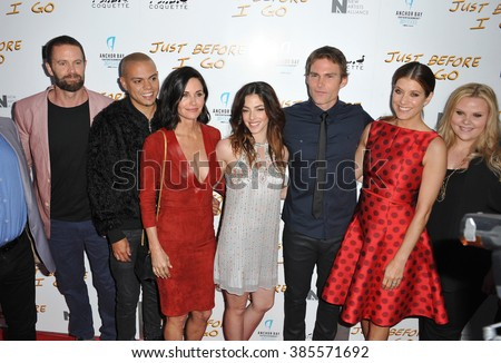 "LOS ANGELES, CA - APRIL 20, 2015: Garret Dillahunt (left), Evan Ross, Courteney Cox, Olivia Thirlby, Seann William Scott, Kate Walsh & Mackenzie Marsh at the premiere of ""Just Before I Go""."
