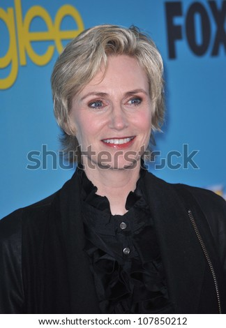 "LOS ANGELES, CA - APRIL 12, 2010: Jane Lynch at the ""Glee"" spring series premiere party at Chateau Marmont, West Hollywood."