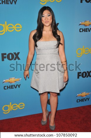 "LOS ANGELES, CA - APRIL 12, 2010: Jenna Ushkowitz at the ""Glee"" spring series premiere party at Chateau Marmont, West Hollywood."