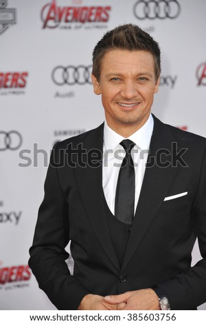 "LOS ANGELES, CA - APRIL 13, 2015: Jeremy Renner at the world premiere of his movie ""Avengers: Age of Ultron"" at the Dolby Theatre, Hollywood."