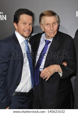 """LOS ANGELES, CA - APRIL 22, 2013: Mark Wahlberg (left) & Viacom boss Sumner Redstone at the Los Angeles premiere of his movie """"Pain & Gain"""" at the Chinese Theatre, Hollywood.  - stock photo"""