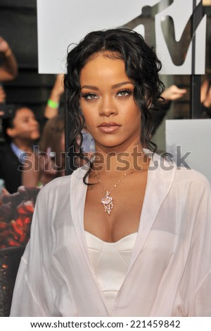 LOS ANGELES, CA - APRIL 13, 2014: Rihanna at the 2014 MTV Movie Awards at the Nokia Theatre LA Live.  - stock photo