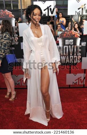LOS ANGELES, CA - APRIL 13, 2014: Rihanna at the 2014 MTV Movie Awards at the Nokia Theatre LA Live.  - stock photo
