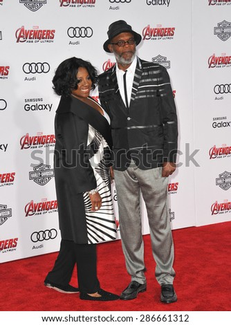 """LOS ANGELES, CA - APRIL 13, 2015: Samuel L. Jackson & wife LaTanya Richardson at the world premiere of his movie """"Avengers: Age of Ultron"""" at the Dolby Theatre, Hollywood.  - stock photo"""