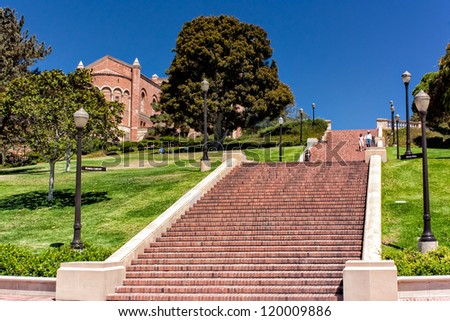 LOS ANGELES, CA - AUG 21:   The 87-steps of Janss Steps are on the campus of UCLA and  were named after the Janss brothers, who sold the land to UCLA. LOS ANGELES, CA, AUG 21,2010. - stock photo
