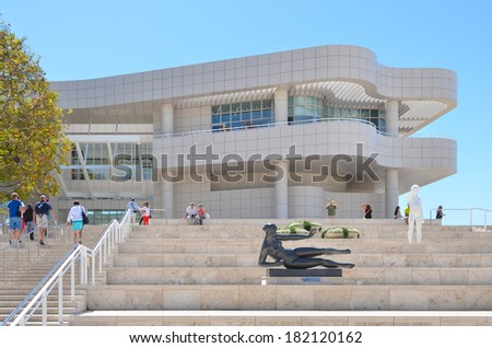 LOS ANGELES, CA - AUGUST 19, 2013: Architectural details of The Getty Center. The Center is a prominent tourist attraction point in Los Angeles, CA - stock photo