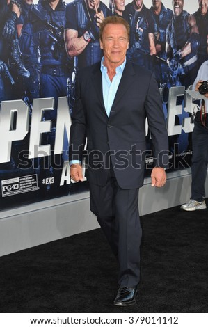 "LOS ANGELES, CA - AUGUST 11, 2014: Arnold Schwarzenegger at the Los Angeles premiere of his movie ""The Expendables 3"" at the TCL Chinese Theatre, Hollywood. - stock photo"