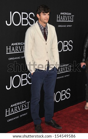 "LOS ANGELES, CA - AUGUST 13, 2013: Ashton Kutcher at the Los Angeles premiere of his movie ""Jobs"" at the Regal Cinemas LA Live.  - stock photo"