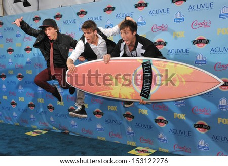 LOS ANGELES, CA - AUGUST 11, 2013: Emblem3 - Wesley Stromberg, Keaton Stromberg & Drew Chadwick - at the 2013 Teen Choice Awards at the Gibson Amphitheatre, Universal City, Hollywood.  - stock photo