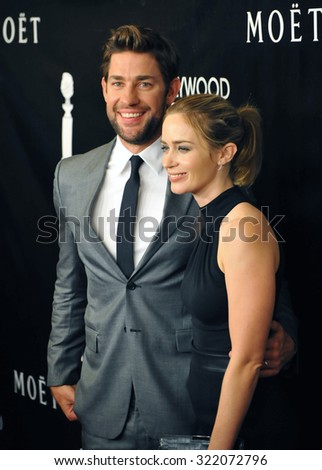 LOS ANGELES, CA - AUGUST 13, 2015: Emily Blunt & husband John Krasinski at the Hollywood Foreign Press Association's Grants Banquet at the Beverly Wilshire Hotel.  - stock photo