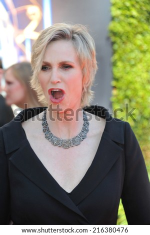 LOS ANGELES, CA - AUGUST 16, 2014: Jane Lynch at the 2014 Creative Arts Emmy Awards at the Nokia Theatre LA Live.