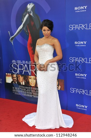 "LOS ANGELES, CA - AUGUST 16, 2012: Jordin Sparks at the world premiere of her movie ""Sparkle"" at Grauman's Chinese Theatre, Hollywood."