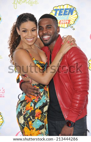 LOS ANGELES, CA - AUGUST 10, 2014: Jordin Sparks & Jason Derulo at the 2014 Teen Choice Awards at the Shrine Auditorium.  - stock photo