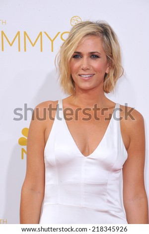 LOS ANGELES, CA - AUGUST 25, 2014: Kristen Wiig at the 66th Primetime Emmy Awards at the Nokia Theatre L.A. Live downtown Los Angeles.  - stock photo