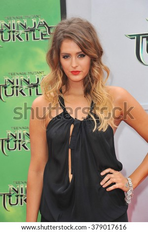 "LOS ANGELES, CA - AUGUST 3, 2014: Moxie Raia at the premiere of ""Teenage Mutant Ninja Turtles"" at the Regency Village Theatre, Westwood."