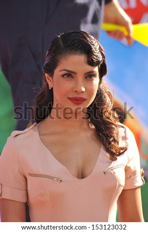 LOS ANGELES, CA - AUGUST 5, 2013: Priyanka Chopra at the world premiere of her movie Disney's Planes at the El Capitan Theatre, Hollywood.
