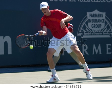 LOS ANGELES, CA. - AUGUST 2: Sam Querrey (pictured) and Carsten Ball play in the mens finals of the L.A. Tennis Open August 2, 2009 in Los Angeles.