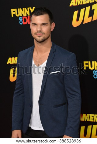 "LOS ANGELES, CA - AUGUST 18, 2015: Taylor Lautner at the world premiere of ""American Ultra"" at The Ace Hotel Downtown."