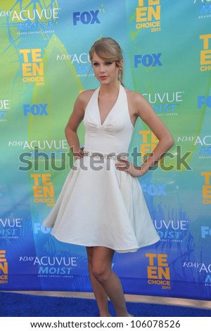 LOS ANGELES, CA - AUGUST 7, 2011: Taylor Swift arrives at the 2011 Teen Choice Awards at the Gibson Amphitheatre, Universal Studios, Hollywood. August 7, 2011  Los Angeles, CA - stock photo