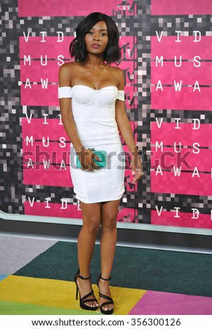 LOS ANGELES, CA - AUGUST 30, 2015: TV presenter Zuri Hall at the 2015 MTV Video Music Awards at the Microsoft Theatre LA Live.  - stock photo