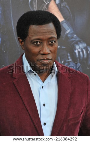 "LOS ANGELES, CA - AUGUST 11, 2014: Wesley Snipes at the Los Angeles premiere of his movie ""The Expendables 3"" at the TCL Chinese Theatre, Hollywood."