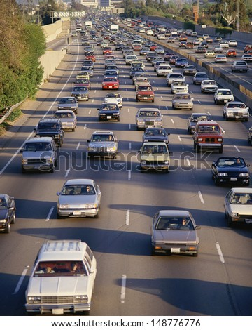 LOS ANGELES, CA - CIRCA 1990'S: Traffic on Interstate 405 in Los Angeles, CA