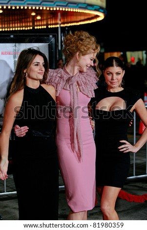 LOS ANGELES, CA - DEC 9: Penelope Cruz, Nicole Kidman and Fergie aka Stacy Ferguson at the premiere of 'Nine' held at the Mann Village Theater in Los Angeles, California on December 9, 2009