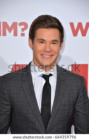"LOS ANGELES, CA - DECEMBER 16, 2016: Actor Adam Devine at the world premiere of ""Why Him?"" at the Regency Bruin Theatre, Westwood."