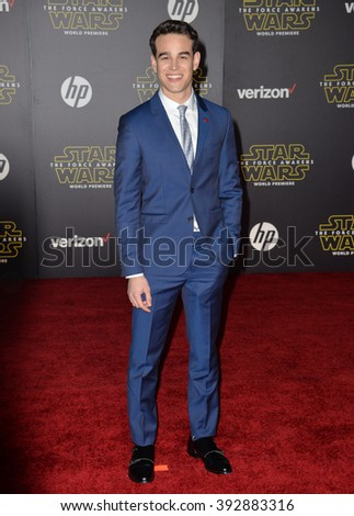 """LOS ANGELES, CA - DECEMBER 14, 2015: Actor Alberto Rosende at the world premiere of """"Star Wars: The Force Awakens"""" on Hollywood Boulevard - stock photo"""