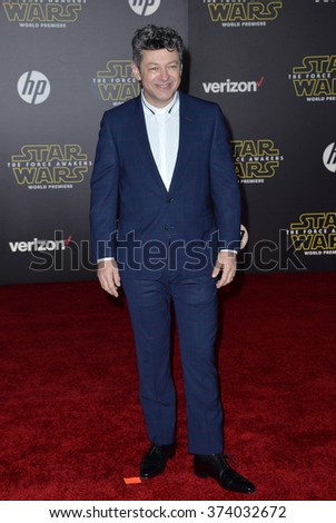 "LOS ANGELES, CA - DECEMBER 14, 2015: Actor Andy Serkis at the world premiere of ""Star Wars: The Force Awakens"" on Hollywood Boulevard. Picture: Paul Smith / Featureflash - stock photo"