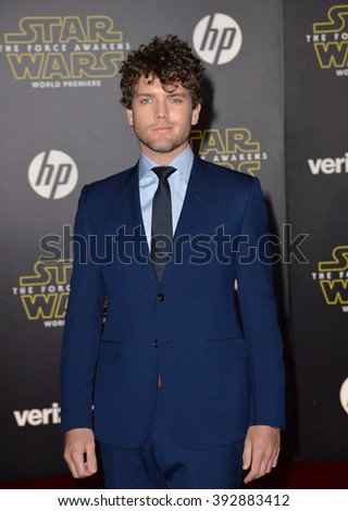 """LOS ANGELES, CA - DECEMBER 14, 2015: Actor Austin Swift, brother of Taylor Swift, at the world premiere of """"Star Wars: The Force Awakens"""" on Hollywood Boulevard - stock photo"""