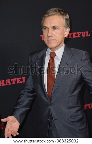 """LOS ANGELES, CA - DECEMBER 7, 2015: Actor Christoph Waltz at the world premiere of Quentin Tarantino's """"The Hateful Eight"""" at the Cinerama Dome, Hollywood - stock photo"""