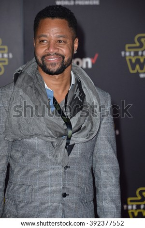 """LOS ANGELES, CA - DECEMBER 14, 2015: Actor Cuba Gooding Jr. at the world premiere of """"Star Wars: The Force Awakens"""" on Hollywood Boulevard - stock photo"""