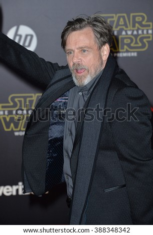 """LOS ANGELES, CA - DECEMBER 14, 2015: Actor Mark Hamill at the world premiere of """"Star Wars: The Force Awakens"""" on Hollywood Boulevard - stock photo"""