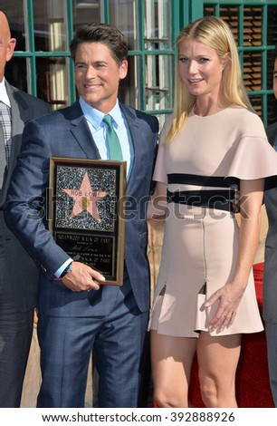 LOS ANGELES, CA - DECEMBER 8, 2015: Actor Rob Lowe & actress Gwyneth Paltrow at Lowe's Walk of Fame star ceremony - stock photo