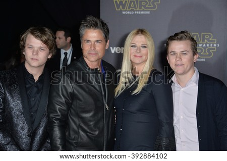 """LOS ANGELES, CA - DECEMBER 14, 2015: Actor Rob Lowe & wife & sons at the world premiere of """"Star Wars: The Force Awakens"""" on Hollywood Boulevard - stock photo"""