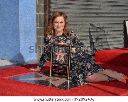 LOS ANGELES, CA - DECEMBER 3, 2015: Actress Amy Poehler on Hollywood Boulevard where she was honored with the 2,566th star on the Hollywood Walk of Fame - stock photo