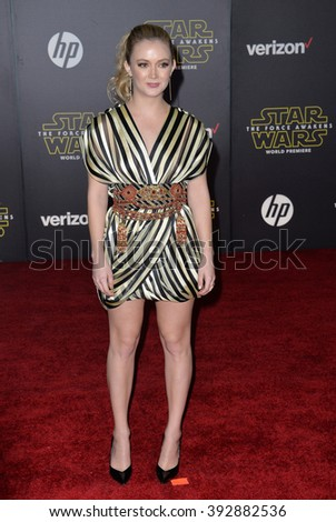 """LOS ANGELES, CA - DECEMBER 14, 2015: Actress Billie Lourd, daughter of Carrie Fisher, at the world premiere of """"Star Wars: The Force Awakens"""" on Hollywood Boulevard - stock photo"""