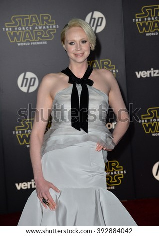 """LOS ANGELES, CA - DECEMBER 14, 2015: Actress Gwendoline Christie at the world premiere of """"Star Wars: The Force Awakens"""" on Hollywood Boulevard - stock photo"""