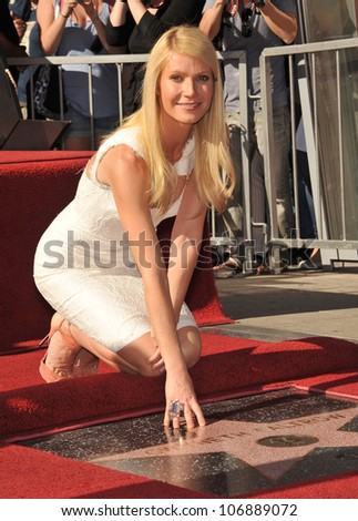 LOS ANGELES, CA - DECEMBER 13, 2010: Actress Gwyneth Paltrow on Hollywood Boulevard where she was honored with the 2,427th star on the Hollywood Walk of Fame.  December 13, 2010  Los Angeles, CA - stock photo