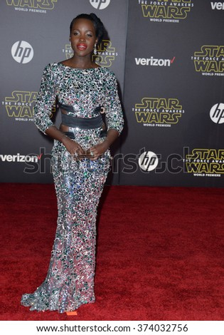"LOS ANGELES, CA - DECEMBER 14, 2015: Actress Lupita Nyong'o at the world premiere of ""Star Wars: The Force Awakens"" on Hollywood Boulevard. Picture: Paul Smith / Featureflash - stock photo"