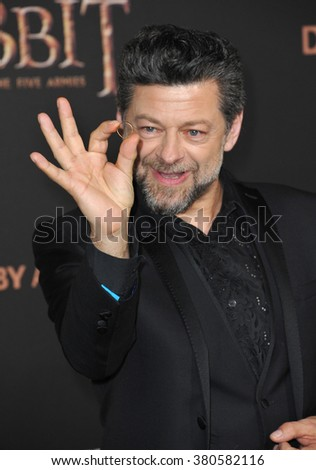 "LOS ANGELES, CA - DECEMBER 9, 2014: Andy Serkis at the Los Angeles premiere of his movie ""The Hobbit: The Battle of the Five Armies"" at the Dolby Theatre, Hollywood."