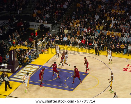 LOS ANGELES, CA. - DECEMBER 25: Christmas Day National Basketball Association Game L.A. Lakers versus the Miami Heat at Staples Center. on December 25, 2010 in Los Angeles. - stock photo